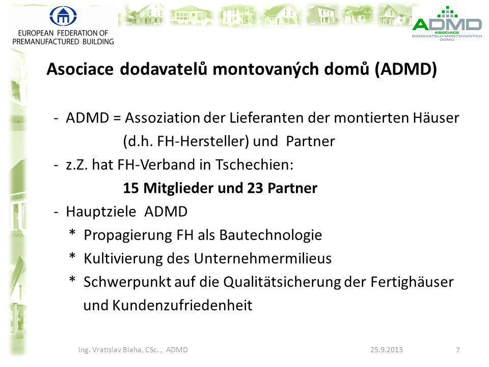 Asociace dodavatelů montovaných domů (ADMD) - ADMD = Assoziation der Lieferanten der montierten Häuser (d.h. FH-Hersteller) und Partner - z.Z. hat FH-