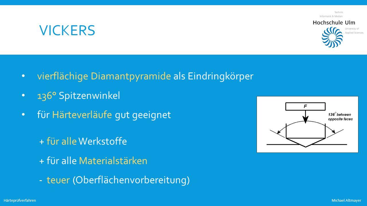VICKERS Michael AltmayerHärteprüfverfahren vierflächige Diamantpyramide als Eindringkörper 136° Spitzenwinkel für Härteverläufe gut geeignet + für all