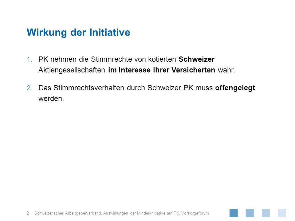 Schweizerischer Arbeitgeberverband, Klar: Unterstellt sind nur schweizerische Aktiengesellschaften, welche im In- und Ausland kotiert sind (also NICHT «Aktien Welt», «Aktien Emerging Markets») Offen: Anwendungsbereich: Begriff «Pensionskasse» (Grösse, andere Vorsorgeeinrichtungen wie Sammelstiftungen etc.) Gilt Regelung auch, falls die «Aktien Schweiz» in Kollektivanlagen (Anlagefonds, Anlagestiftungen) gehalten werden.