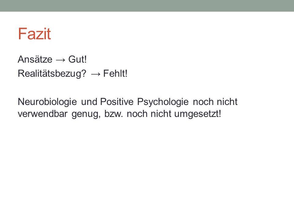 Fazit Ansätze Gut! Realitätsbezug? Fehlt! Neurobiologie und Positive Psychologie noch nicht verwendbar genug, bzw. noch nicht umgesetzt!