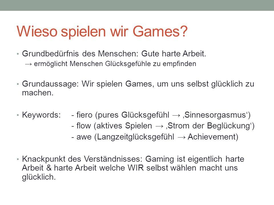 Wieso spielen wir Games? Grundbedürfnis des Menschen: Gute harte Arbeit. ermöglicht Menschen Glücksgefühle zu empfinden Grundaussage: Wir spielen Game