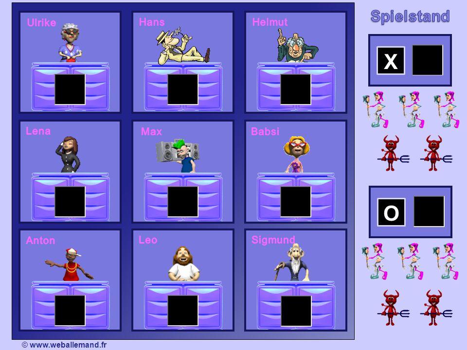 © www.weballemand.fr / Tous droits réservés 2 Gruppen spielen gegeneinander (die X und die O) 12345678910 die Odie X Für jede Gruppe spielt jedes Mal