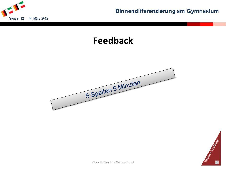 Binnendifferenzierung am Gymnasium Genua, 12. – 14. März 2012 Claus H. Brasch & Martina Propf 14 Feedback 5 Spalten 5 Minuten