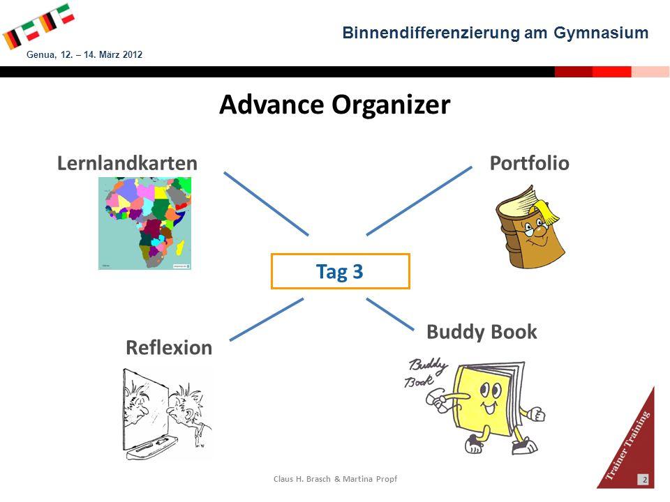 Binnendifferenzierung am Gymnasium Genua, 12. – 14. März 2012 Claus H. Brasch & Martina Propf 2 Advance Organizer Lernlandkarten Reflexion Tag 3 Buddy