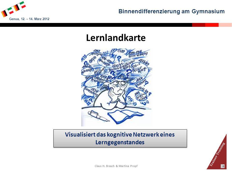 Binnendifferenzierung am Gymnasium Genua, 12. – 14. März 2012 Claus H. Brasch & Martina Propf 6 Lernlandkarte Visualisiert das kognitive Netzwerk eine