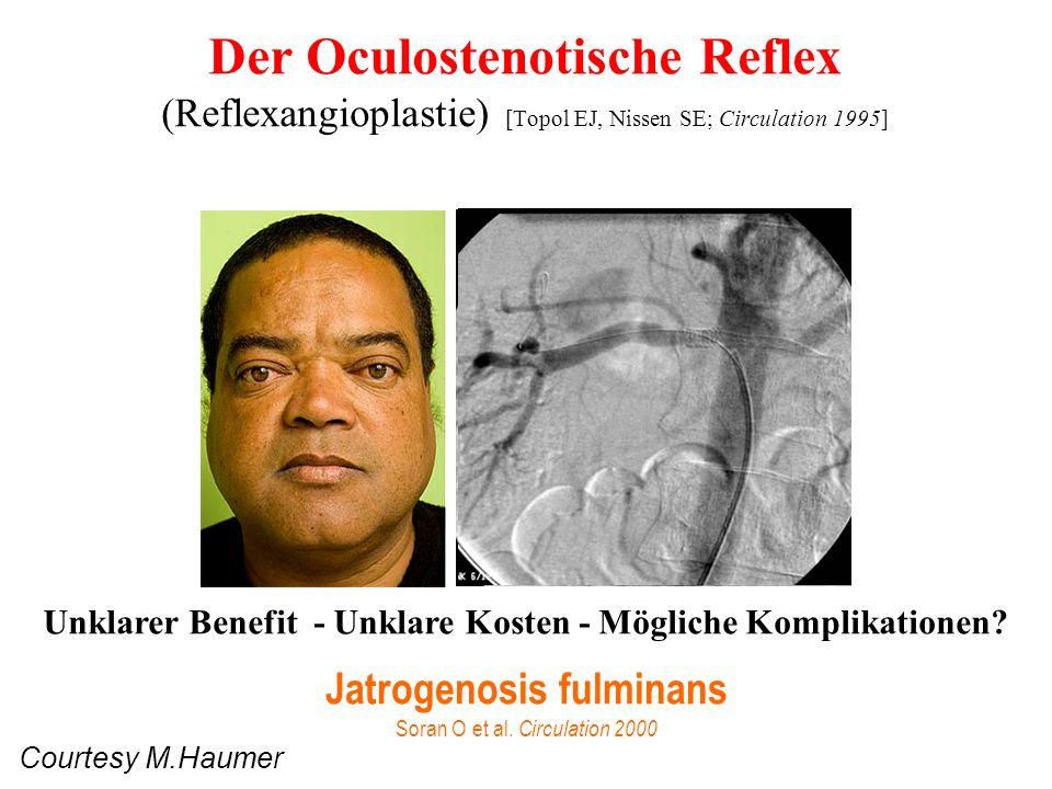 Klinische Anhaltspunkte für NAST Onset HTN nach 55 Jahren Exacerbation einer gut eingestellten HTN Maligne or refraktäre HTN Epigastrisches Geräusch (systolic/diastolic) Unerklärte Azotämie Azotämie während ACEI, ARB Atrophe Nieren, Diskrepanz in Grösse Rekurrente CHF or flash Lungenödem Atherosklerose irgendwo
