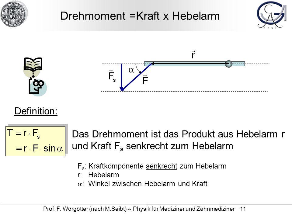 Prof. F. Wörgötter (nach M.Seibt) -- Physik für Mediziner und Zahnmediziner 11 Drehmoment =Kraft x Hebelarm F s : Kraftkomponente senkrecht zum Hebela