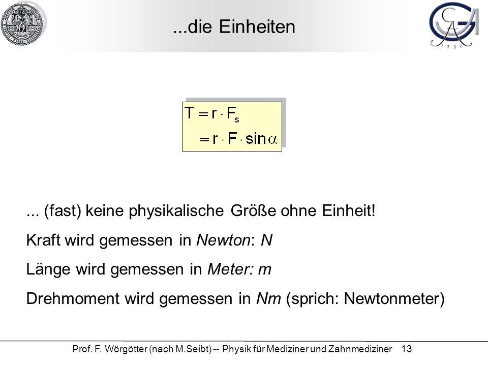 Prof. F. Wörgötter (nach M.Seibt) -- Physik für Mediziner und Zahnmediziner 13...die Einheiten... (fast) keine physikalische Größe ohne Einheit! Kraft