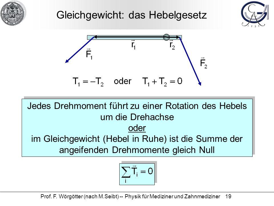 Prof. F. Wörgötter (nach M.Seibt) -- Physik für Mediziner und Zahnmediziner 19 Gleichgewicht: das Hebelgesetz Jedes Drehmoment führt zu einer Rotation