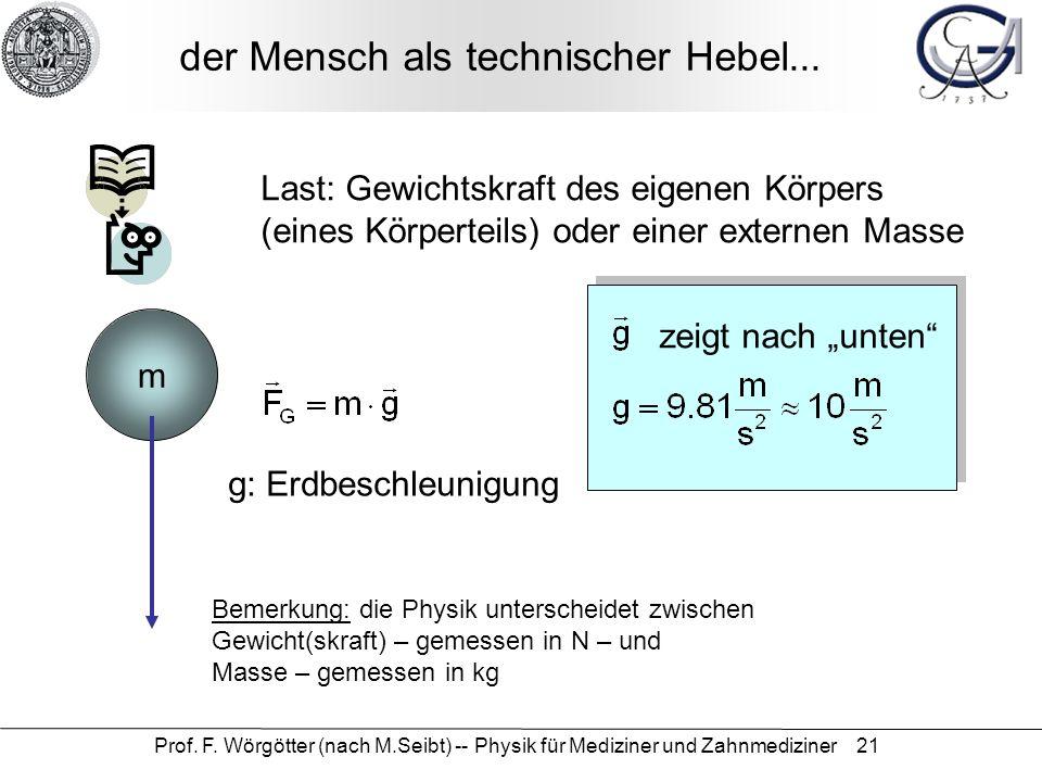 Prof. F. Wörgötter (nach M.Seibt) -- Physik für Mediziner und Zahnmediziner 21 der Mensch als technischer Hebel... Last: Gewichtskraft des eigenen Kör