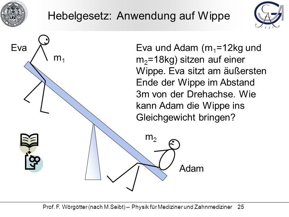 Prof. F. Wörgötter (nach M.Seibt) -- Physik für Mediziner und Zahnmediziner 25 Hebelgesetz: Anwendung auf Wippe m1m1 m2m2 Eva und Adam (m 1 =12kg und