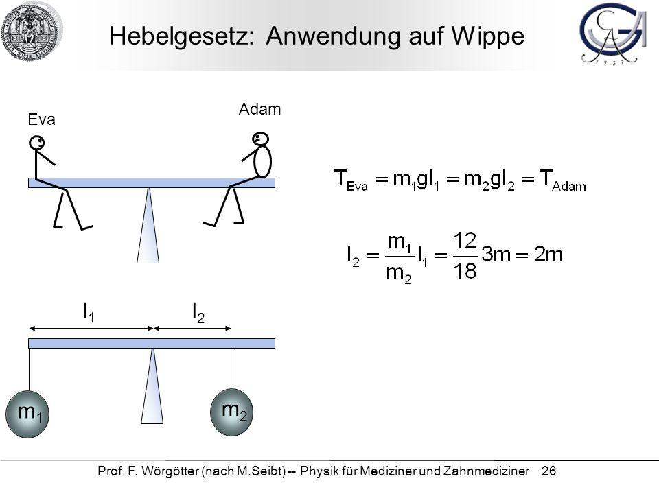 Prof. F. Wörgötter (nach M.Seibt) -- Physik für Mediziner und Zahnmediziner 26 Hebelgesetz: Anwendung auf Wippe Eva Adam m1m1 m2m2 l1l1 l2l2