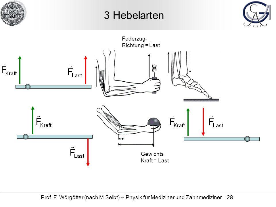 Prof. F. Wörgötter (nach M.Seibt) -- Physik für Mediziner und Zahnmediziner 28 3 Hebelarten Federzug- Richtung = Last Gewichts Kraft = Last