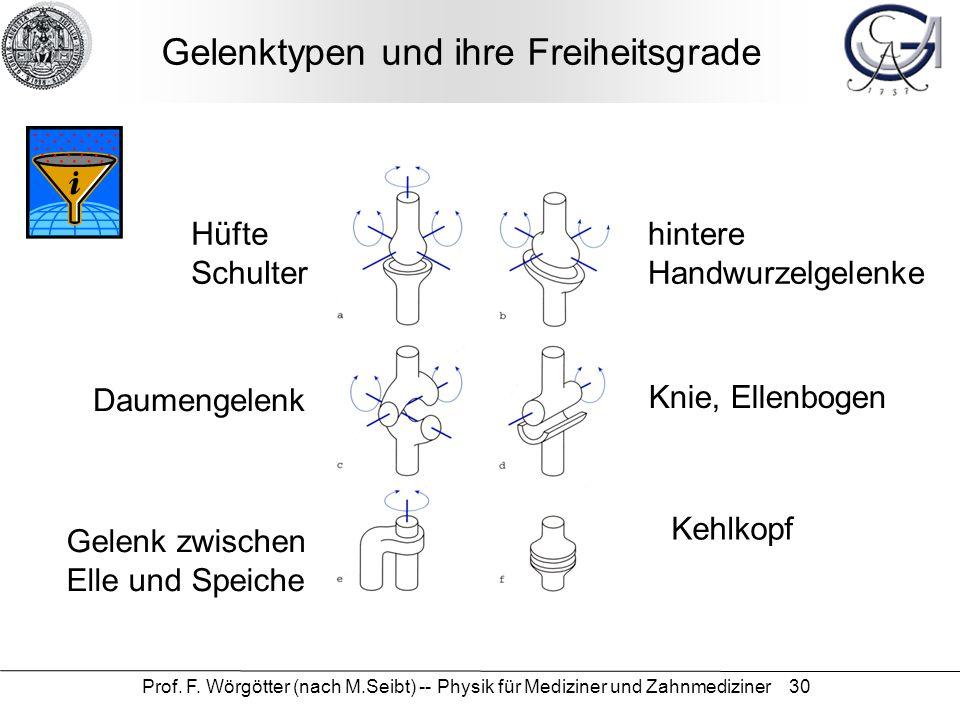 Prof. F. Wörgötter (nach M.Seibt) -- Physik für Mediziner und Zahnmediziner 30 Gelenktypen und ihre Freiheitsgrade Hüfte Schulter hintere Handwurzelge