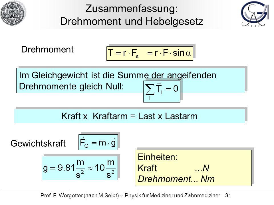 Prof. F. Wörgötter (nach M.Seibt) -- Physik für Mediziner und Zahnmediziner 31 Zusammenfassung: Drehmoment und Hebelgesetz Drehmoment Im Gleichgewicht