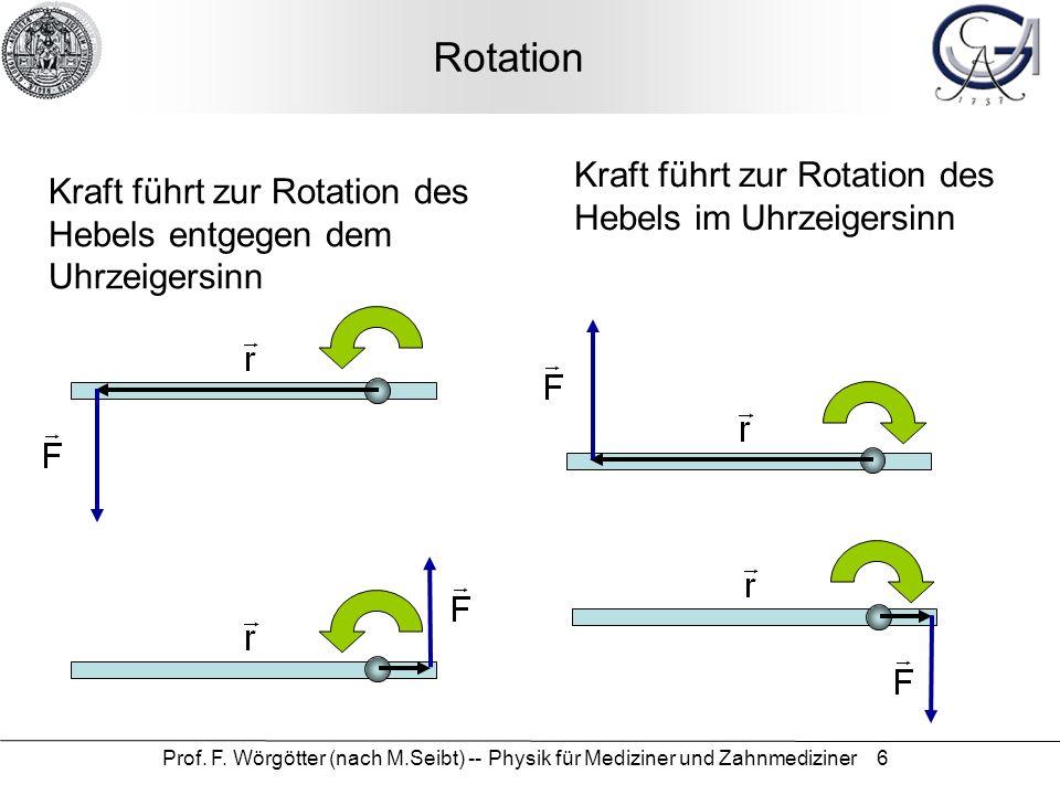 Prof. F. Wörgötter (nach M.Seibt) -- Physik für Mediziner und Zahnmediziner 6 Rotation Kraft führt zur Rotation des Hebels im Uhrzeigersinn Kraft führ