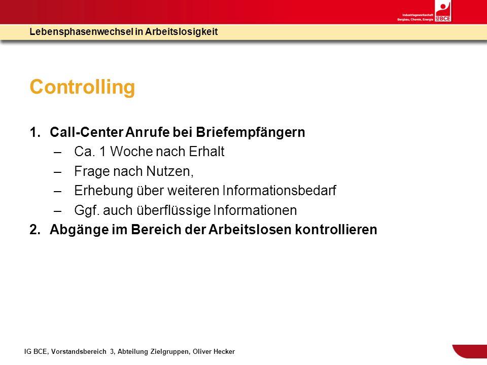 IG BCE, Vorstandsbereich 3, Abteilung Zielgruppen, Oliver Hecker Lebensphasenwechsel in Arbeitslosigkeit Controlling 1.Call-Center Anrufe bei Briefemp