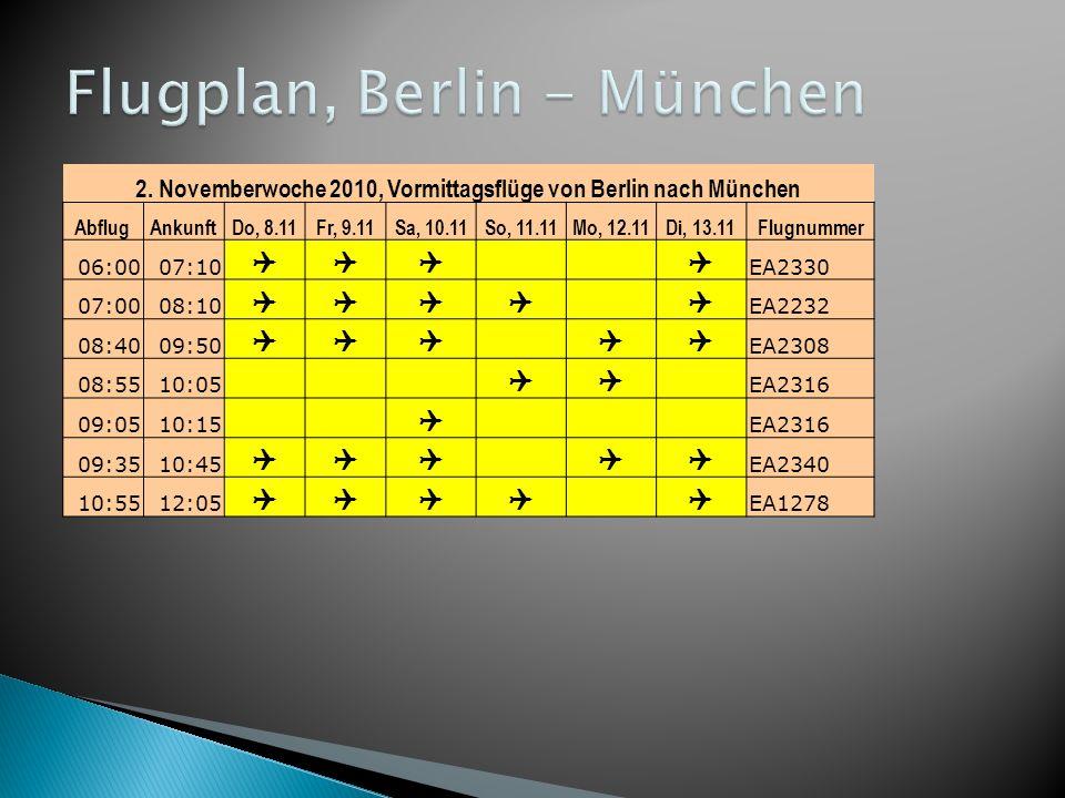 2. Novemberwoche 2010, Vormittagsflüge von Berlin nach München AbflugAnkunftDo, 8.11Fr, 9.11Sa, 10.11So, 11.11Mo, 12.11Di, 13.11Flugnummer 06:0007:10