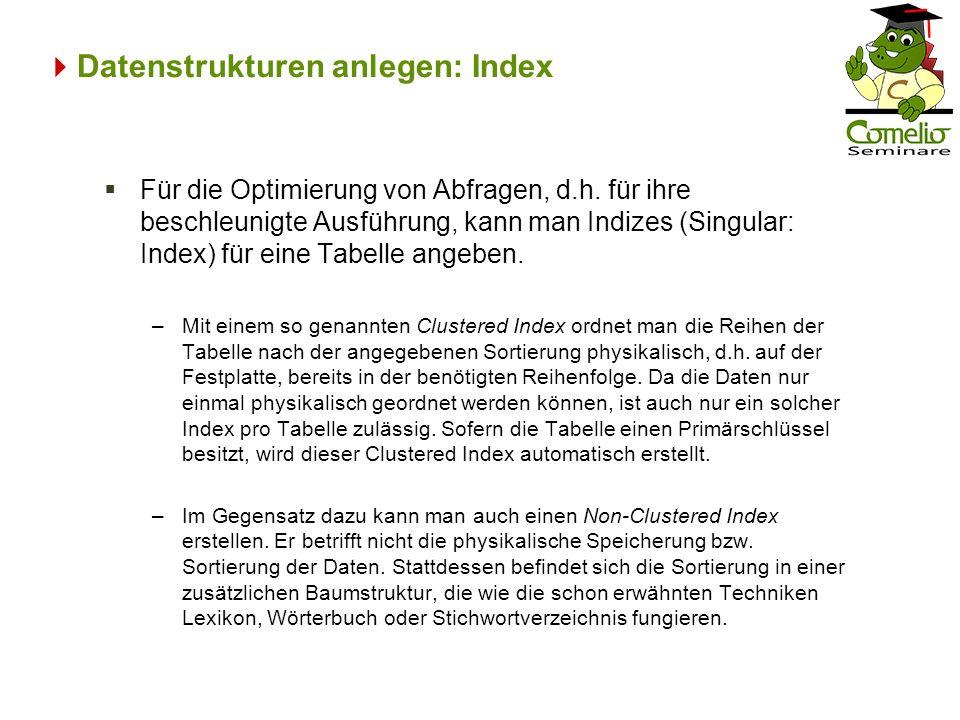 Datenstrukturen anlegen: Index Für die Optimierung von Abfragen, d.h. für ihre beschleunigte Ausführung, kann man Indizes (Singular: Index) für eine T