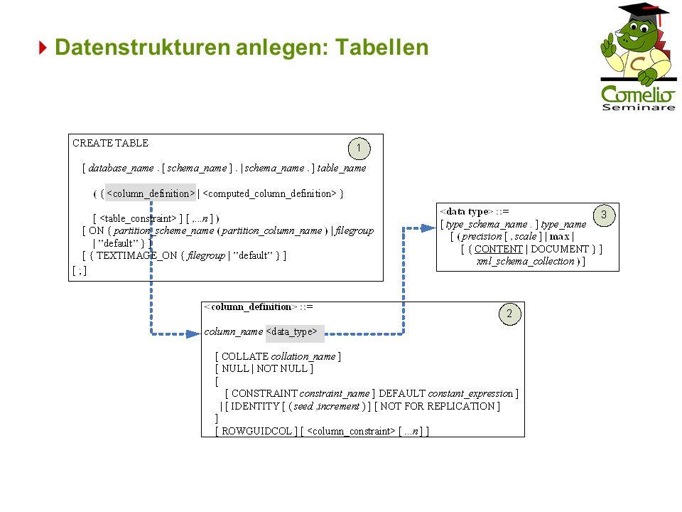 Datenstrukturen anlegen: Tabellen