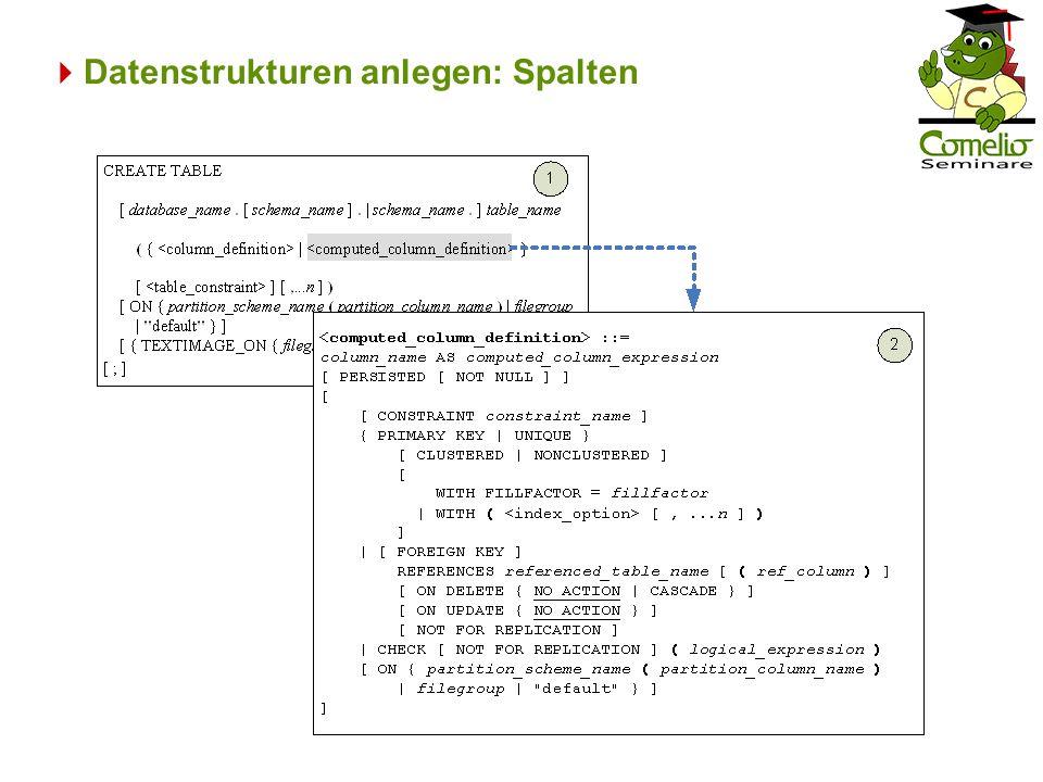 Datenstrukturen anlegen: Schlüssel Varianten der Definition von Primär- und Fremdschlüsseln: –Bei der Spaltendefinition –Am Ende der Tabellendefinition außerhalb der Spalten –Außerhalb der Tabellendefinition in einem ALTER-Befehl