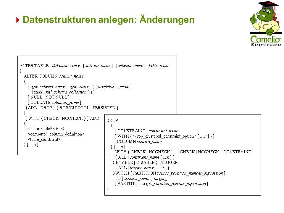 Datenstrukturen anlegen: Änderungen