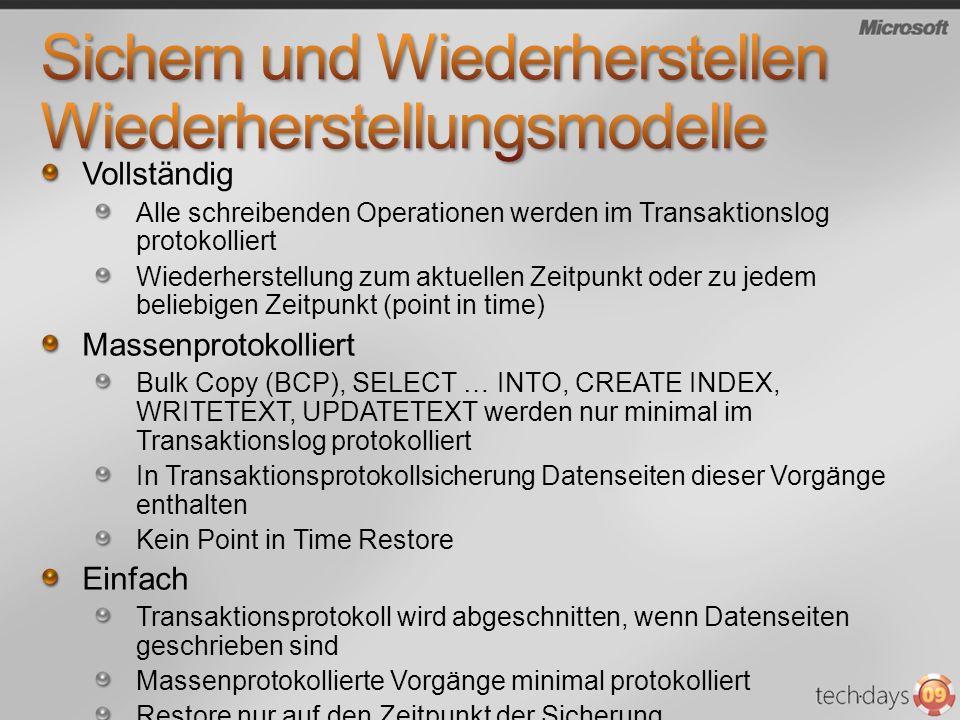 Vollständig Alle schreibenden Operationen werden im Transaktionslog protokolliert Wiederherstellung zum aktuellen Zeitpunkt oder zu jedem beliebigen Z