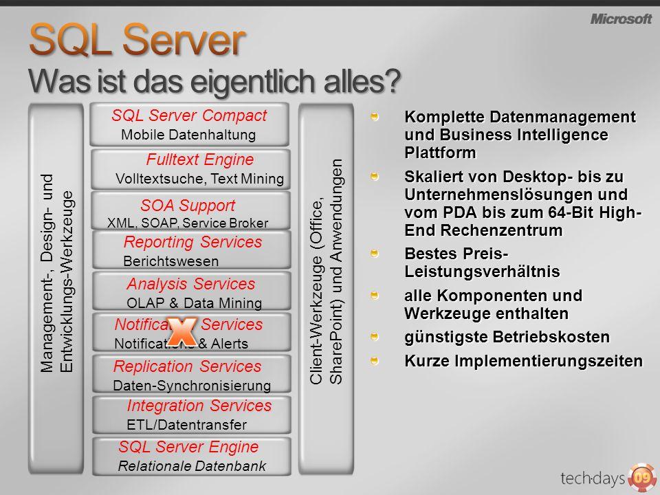 SQL Server Compact Mobile Datenhaltung Komplette Datenmanagement und Business Intelligence Plattform Skaliert von Desktop- bis zu Unternehmenslösungen