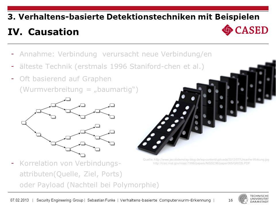 07.02.2013 | Security Engineering Group | Sebastian Funke | Verhaltens-basierte Computerwurm-Erkennung | 16 IV. Causation 3. Verhaltens-basierte Detek