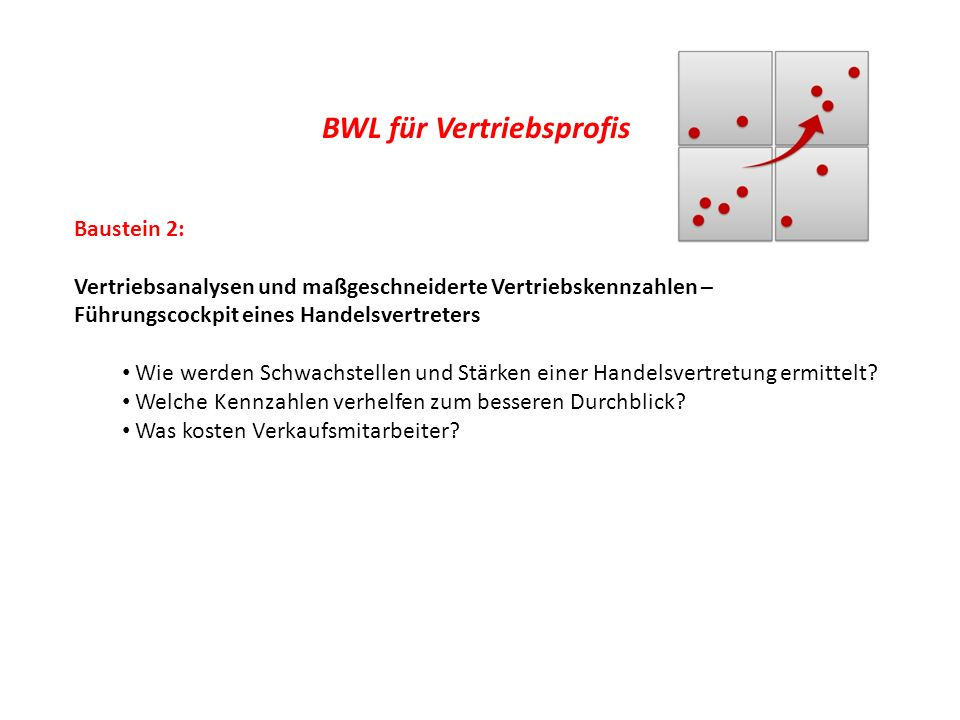 BWL für Vertriebsprofis Baustein 2: Vertriebsanalysen und maßgeschneiderte Vertriebskennzahlen – Führungscockpit eines Handelsvertreters Wie werden Sc