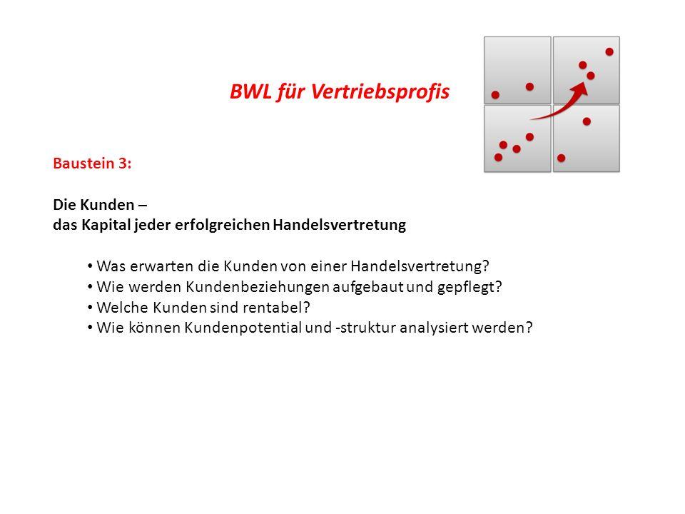 BWL für Vertriebsprofis Baustein 3: Die Kunden – das Kapital jeder erfolgreichen Handelsvertretung Was erwarten die Kunden von einer Handelsvertretung