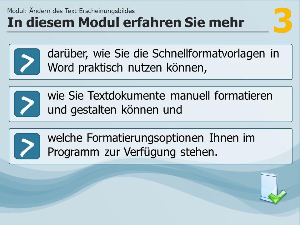 3 >> wie Sie Textdokumente manuell formatieren und gestalten können und welche Formatierungsoptionen Ihnen im Programm zur Verfügung stehen.