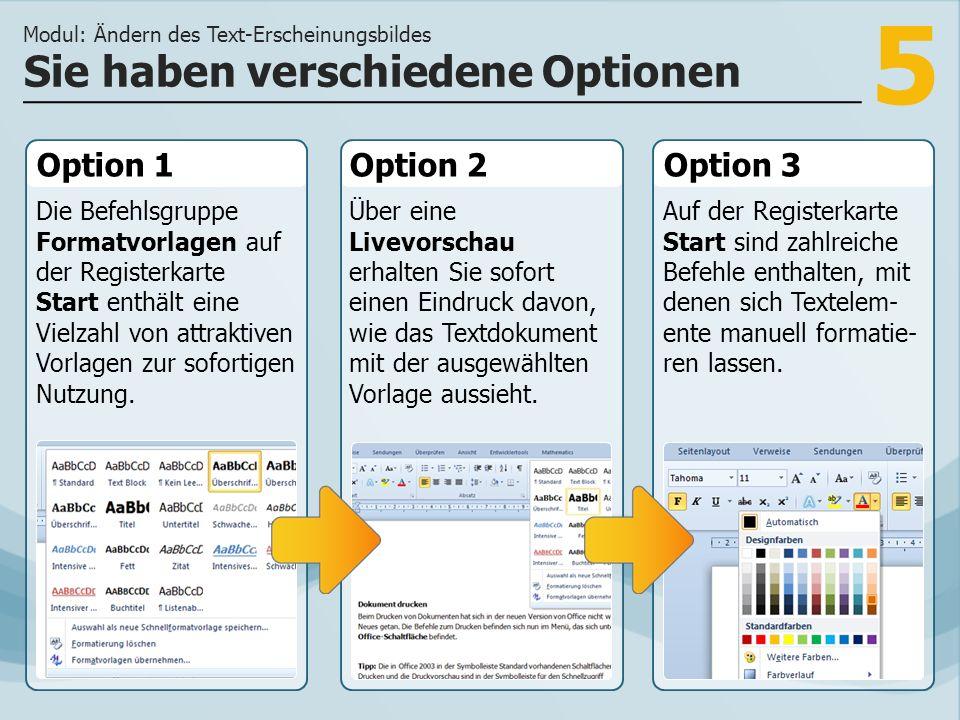 5 Option 1 Die Befehlsgruppe Formatvorlagen auf der Registerkarte Start enthält eine Vielzahl von attraktiven Vorlagen zur sofortigen Nutzung.