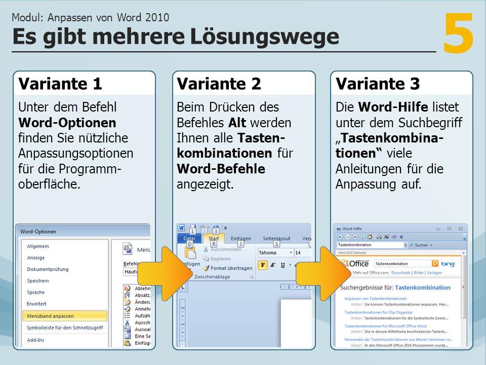 5 Variante 1 Unter dem Befehl Word-Optionen finden Sie nützliche Anpassungsoptionen für die Programm- oberfläche.