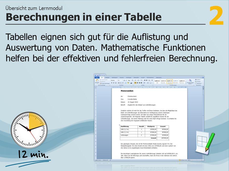 2 Tabellen eignen sich gut für die Auflistung und Auswertung von Daten.