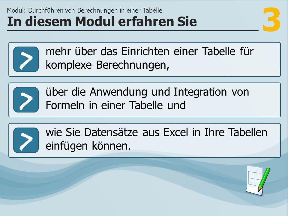3 >> über die Anwendung und Integration von Formeln in einer Tabelle und wie Sie Datensätze aus Excel in Ihre Tabellen einfügen können.