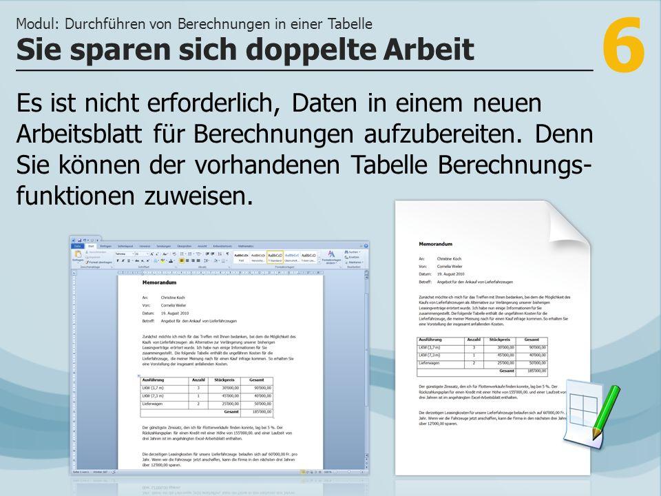 6 Sie sparen sich doppelte Arbeit Modul: Durchführen von Berechnungen in einer Tabelle Es ist nicht erforderlich, Daten in einem neuen Arbeitsblatt für Berechnungen aufzubereiten.