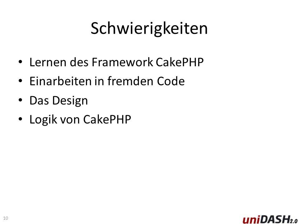 Schwierigkeiten Lernen des Framework CakePHP Einarbeiten in fremden Code Das Design Logik von CakePHP 10