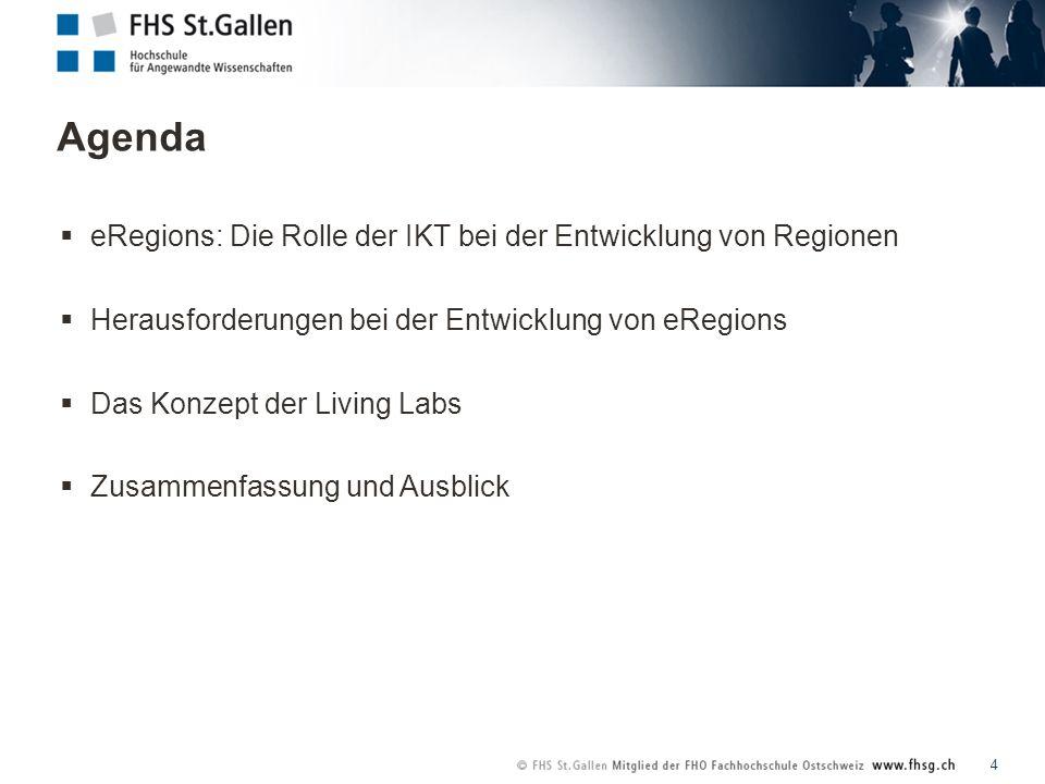 Agenda 4 eRegions: Die Rolle der IKT bei der Entwicklung von Regionen Herausforderungen bei der Entwicklung von eRegions Das Konzept der Living Labs Zusammenfassung und Ausblick