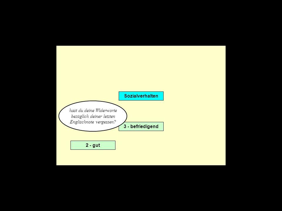 Sozialverhalten 2 - gut 3 - befriedigend hast du deine Widerworte bezüglich deiner letzten Englischnote vergessen