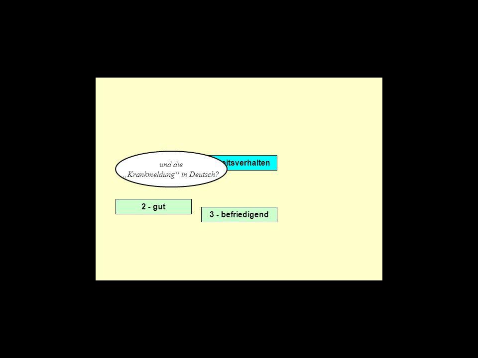 Arbeitsverhalten 2 - gut 3 - befriedigend und die Krankmeldung in Deutsch?