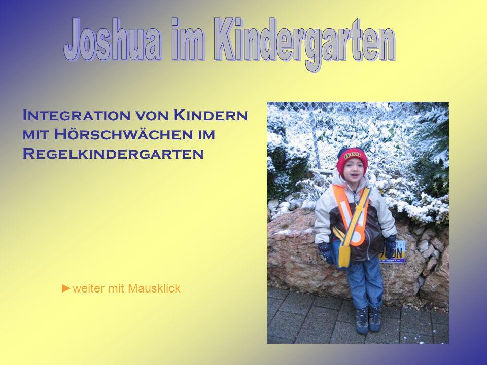 Integration von Kindern mit Hörschwächen im Regelkindergarten weiter mit Mausklick