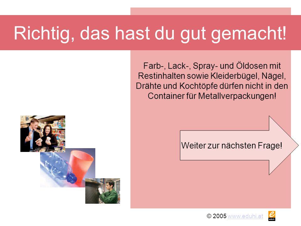 © 2005 www.eduhi.atwww.eduhi.at Richtig, das hast du gut gemacht! Weiter zur nächsten Frage! Farb-, Lack-, Spray- und Öldosen mit Restinhalten sowie K