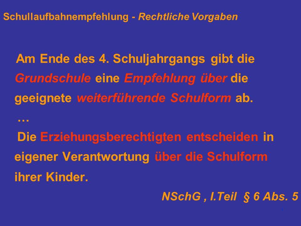 1 Schullaufbahnempfehlung - Rechtliche Vorgaben Am Ende des 4.