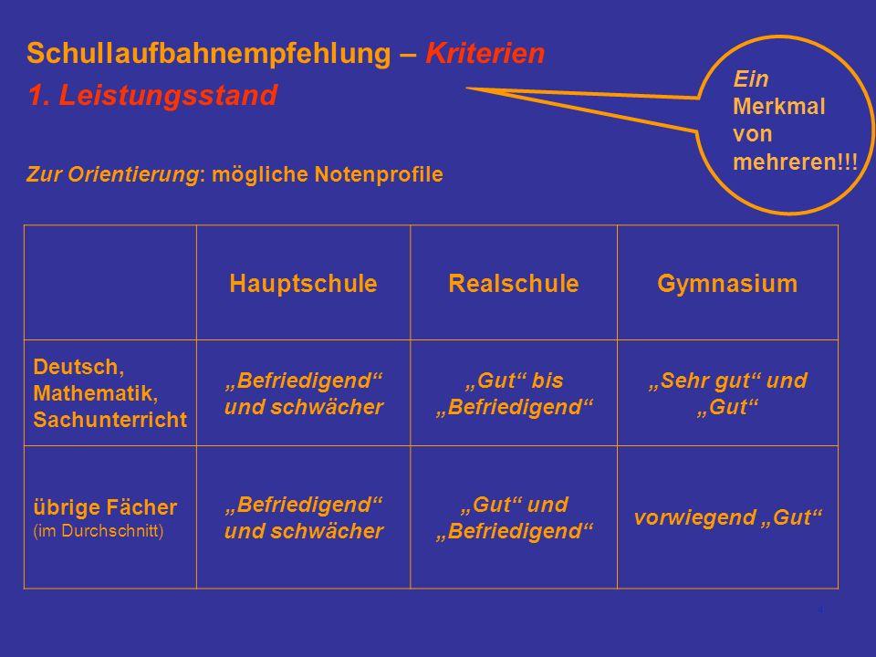 4 Schullaufbahnempfehlung – Kriterien 1. Leistungsstand HauptschuleRealschuleGymnasium Deutsch, Mathematik, Sachunterricht Befriedigend und schwächer
