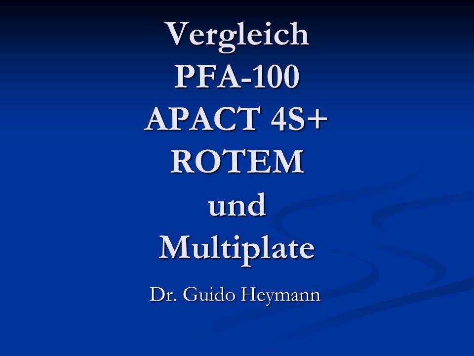 im DHZB vorhanden TEG (ROTEM) von Pentapharm TEG (ROTEM) von Pentapharm PFA-100 von Dade PFA-100 von Dade APACT 4S+ (TAT) von Greiner APACT 4S+ (TAT) von Greiner Multiplate (Instrumentation Laboratory) Multiplate (Instrumentation Laboratory) im DHZB gewünscht