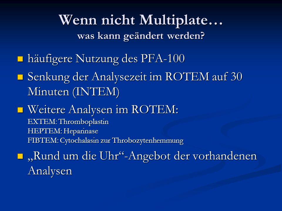 Wenn nicht Multiplate… was kann geändert werden? häufigere Nutzung des PFA-100 häufigere Nutzung des PFA-100 Senkung der Analysezeit im ROTEM auf 30 M