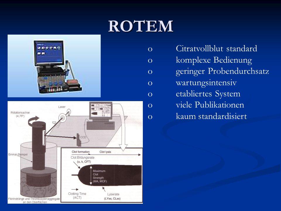 ROTEM oCitratvollblut standard okomplexe Bedienung ogeringer Probendurchsatz owartungsintensiv oetabliertes System oviele Publikationen okaum standard