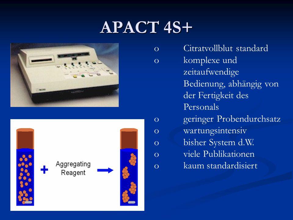 APACT 4S+ oCitratvollblut standard okomplexe und zeitaufwendige Bedienung, abhängig von der Fertigkeit des Personals ogeringer Probendurchsatz owartun