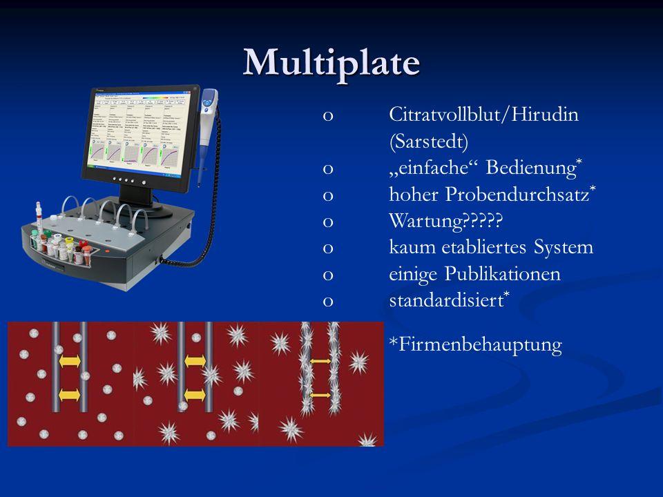 Multiplate oCitratvollblut/Hirudin (Sarstedt) oeinfache Bedienung * ohoher Probendurchsatz * oWartung????? okaum etabliertes System oeinige Publikatio
